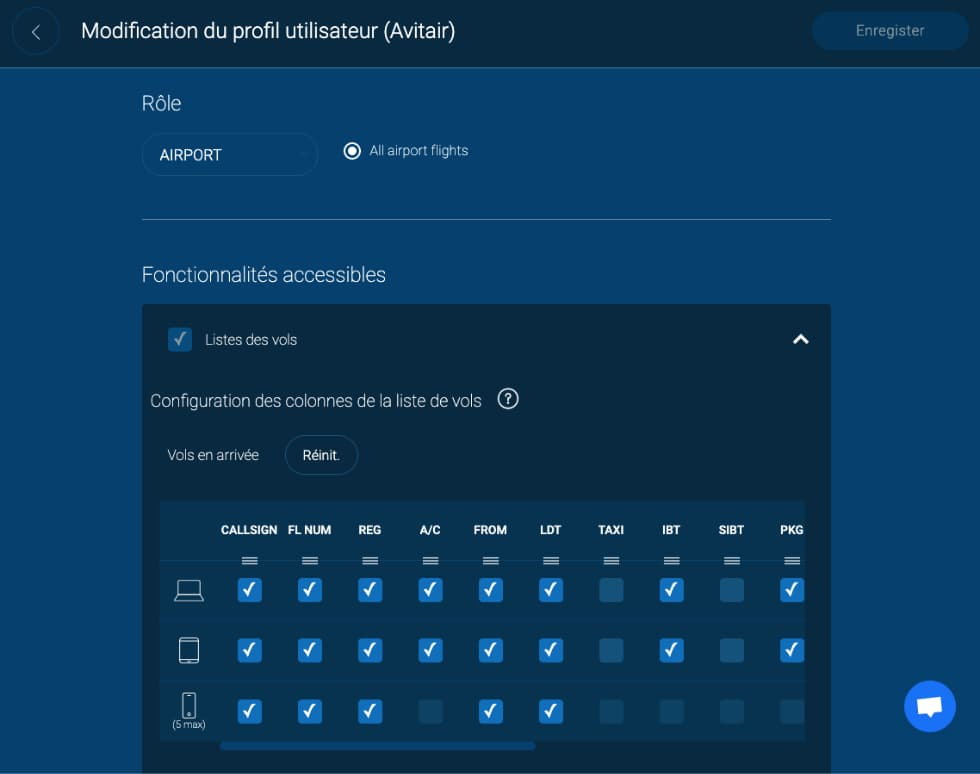 Configuration des profils